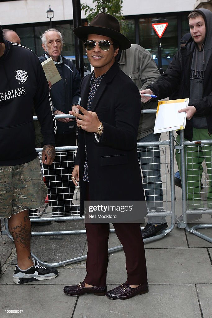 Bruno Mars seen at BBC Radio 2 on November 23, 2012 in London, England.