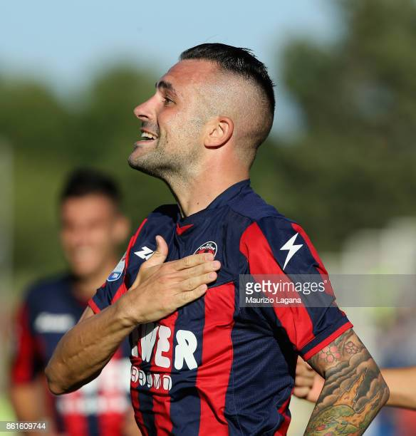 Bruno Martella of Crotone celebrates after scoring his team's second goal during the Serie A match between FC Crotone and Torino FC at Stadio...