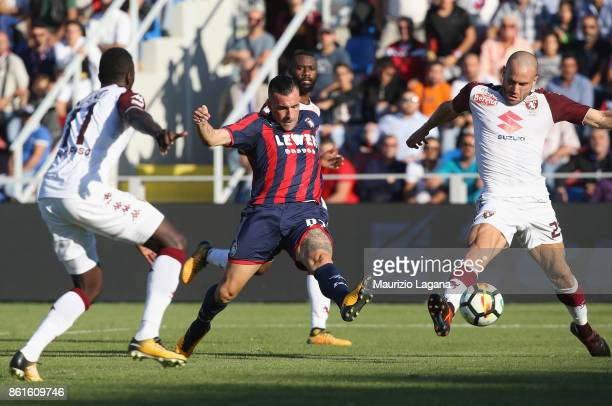 Bruno Martella of Crotone scores his team's second goal during the Serie A match between FC Crotone and Torino FC at Stadio Comunale Ezio Scida on...