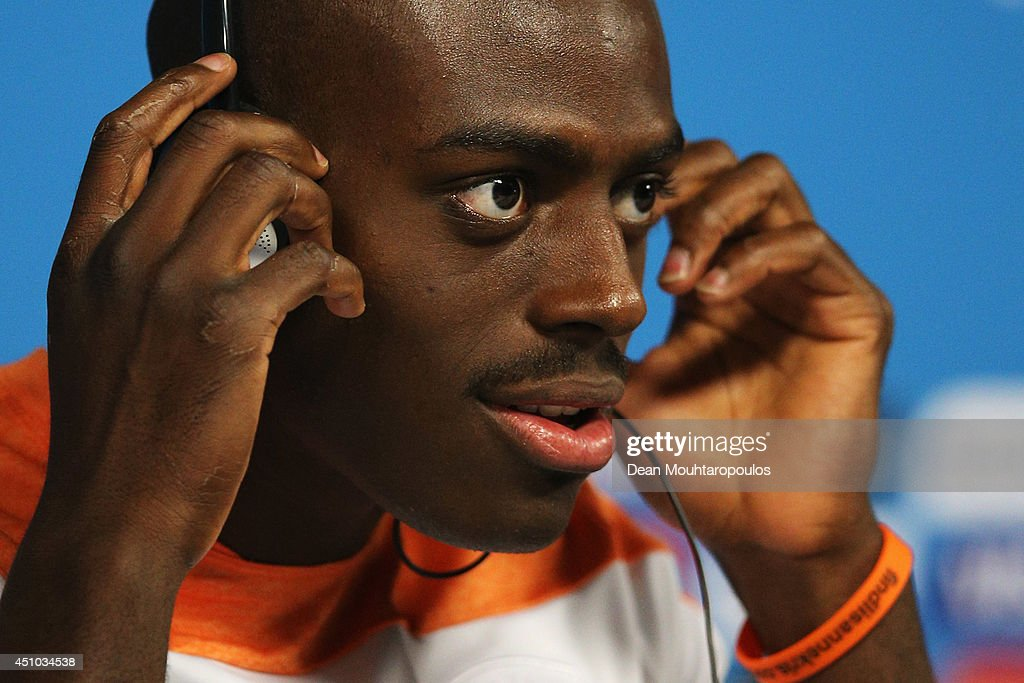 <a gi-track='captionPersonalityLinkClicked' href=/galleries/search?phrase=Bruno+Martins+Indi&family=editorial&specificpeople=7155940 ng-click='$event.stopPropagation()'>Bruno Martins Indi</a> gets ready to speak to the media during the Netherlands Press Conference at the 2014 FIFA World Cup Brazil held at the Arena de Sao Paulo on June 22, 2014 in Sao Paulo, Brazil.