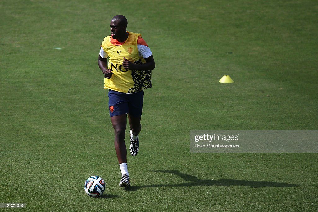 <a gi-track='captionPersonalityLinkClicked' href=/galleries/search?phrase=Bruno+Martins+Indi&family=editorial&specificpeople=7155940 ng-click='$event.stopPropagation()'>Bruno Martins Indi</a> in action during the Netherlands training session at the 2014 FIFA World Cup Brazil held at the Estadio Jose Bastos Padilha Gavea on June 26, 2014 in Rio de Janeiro, Brazil.
