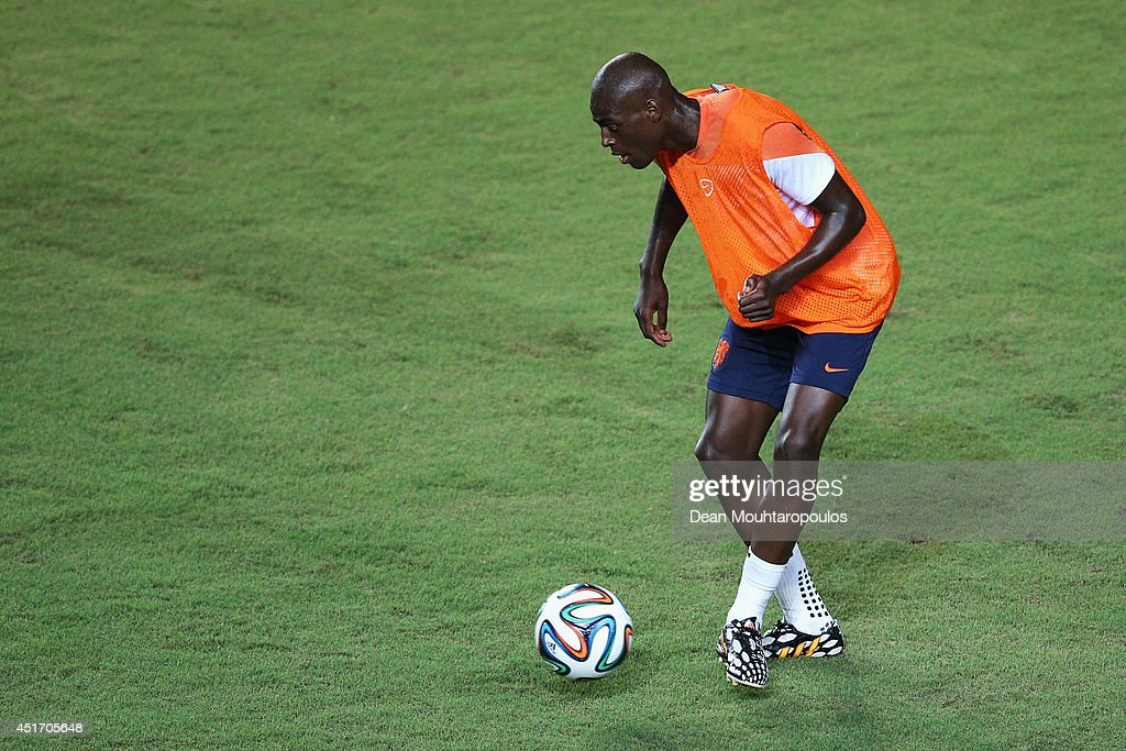 <a gi-track='captionPersonalityLinkClicked' href=/galleries/search?phrase=Bruno+Martins+Indi&family=editorial&specificpeople=7155940 ng-click='$event.stopPropagation()'>Bruno Martins Indi</a> in action during the Netherlands training session ahead of the 2014 FIFA World Cup quarter final match between the Netherlands and Costa Rica held at the Estadio Roberto Santos on July 4, 2014 in Salvador, Brazil.
