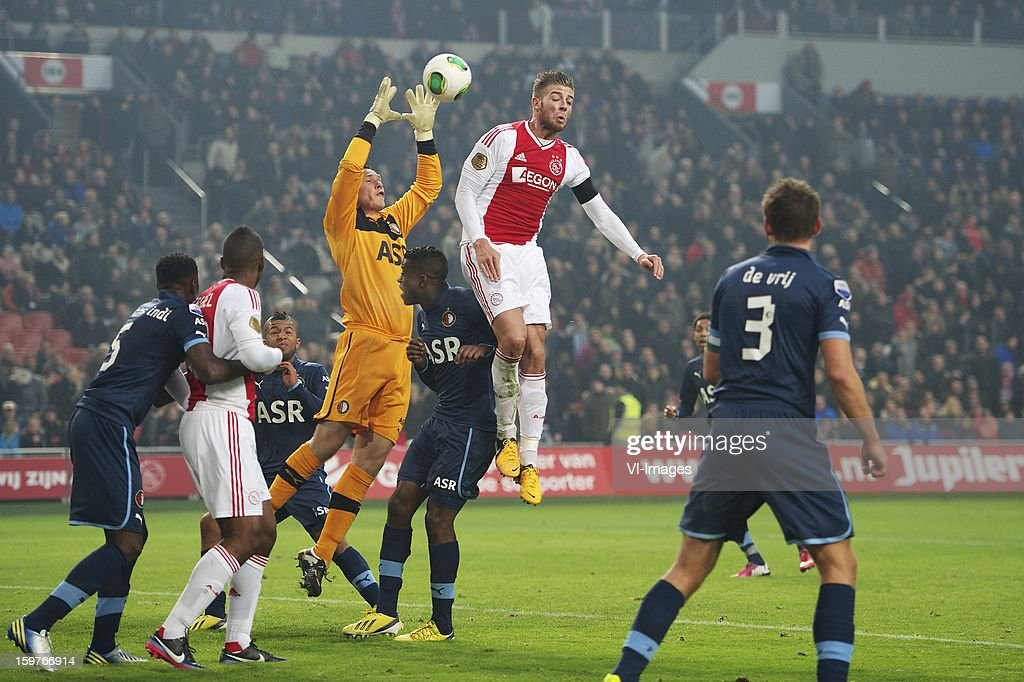 Bruno Martins Indi of Feyenoord, Ryan Babel of Ajax, Tony Vilhena of Feyenoord, goalkeeper Erwin Mulder of Feyenoord, Guyon Fernandez of Feyenoord, Toby Alderweireld of Ajax, Jean-Paul Boetius of Feyenoord, Stefan de Vrij of Feyenoord during the Dutch Eredivise match between Ajax Amsterdam and Feyenoord at the Amsterdam Arena on January 20, 2013 in Amsterdam, The Netherlands.