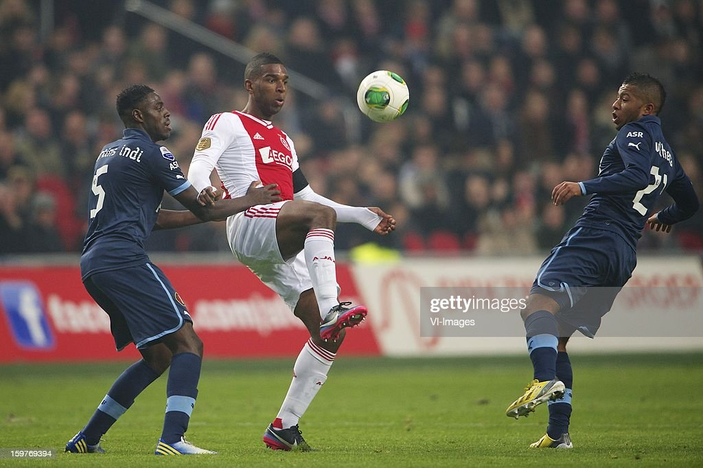 Bruno Martins Indi of Feyenoord, Ryan Babel of Ajax, Tony Vilhena of Feyenoord during the Dutch Eredivise match between Ajax Amsterdam and Feyenoord at the Amsterdam Arena on January 20, 2013 in Amsterdam, The Netherlands.