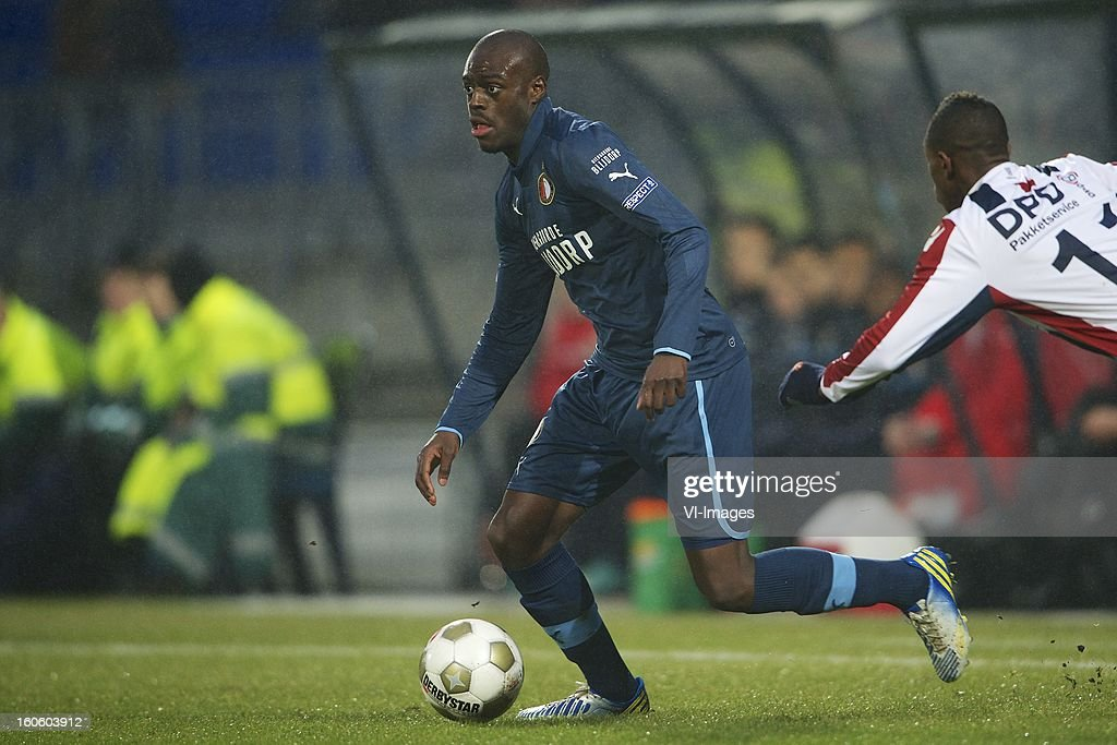 Bruno Martins Indi of Feyenoord, Virgil Misidjan of Willem II during the Dutch Eredivisie match between Willem II and Feyenoord at the Koning Willem II Stadium on february 3, 2013 in Tilburg, The Netherlands