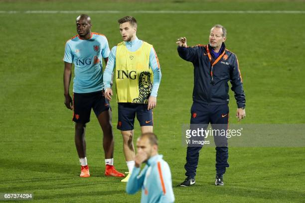 Bruno Martins Indi of Holland Rick Karsdorp of Holland Bas Dost of Holland coach Danny Blind of Hollandduring a training session prior to the FIFA...