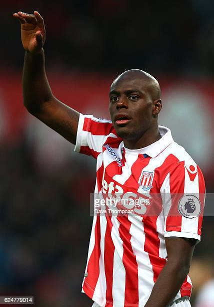 Bruno Martins Indi of Stoke City during the Premier League match between Stoke City and AFC Bournemouth at Bet365 Stadium on November 19 2016 in...