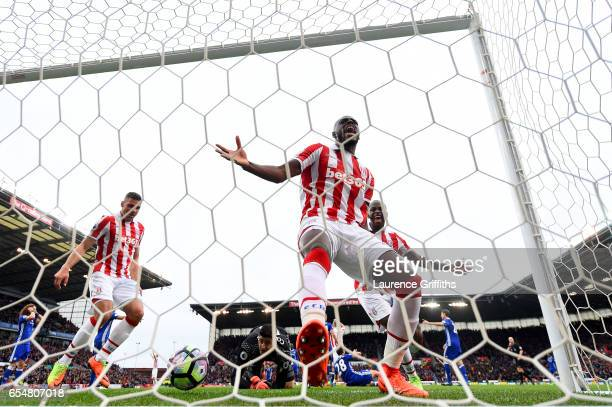 Bruno Martins Indi of Stoke City reacts to having his goal dissallowed during the Premier League match between Stoke City and Chelsea at Bet365...