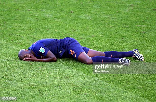 Bruno Martins Indi of the Netherlands lies on the field after a challenge during the 2014 FIFA World Cup Brazil Group B match between Australia and...