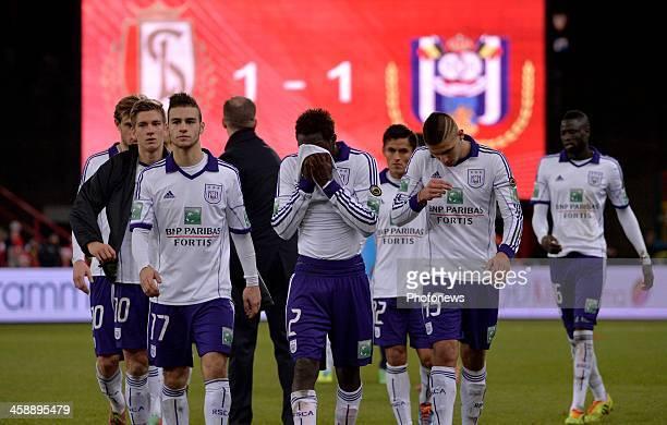 Bruno Massimo of Rsc Anderlecht Fabrice N'Sakala of Rsc Anderlecht Aleksandar Mitrovic of Rsc Anderlecht during the Jupiler League match between...