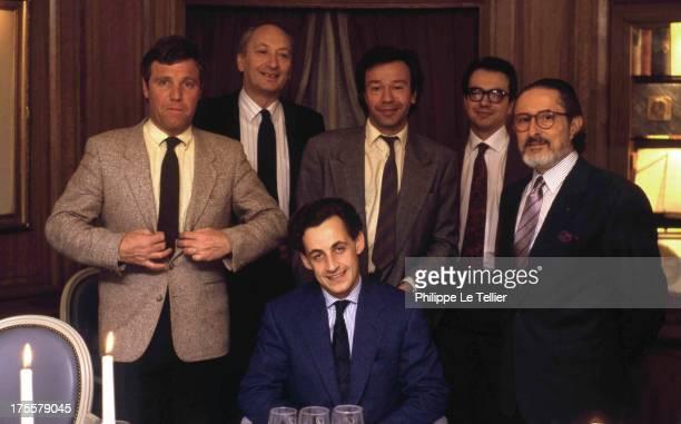 Bruno Masure Joseph Joffo Paul Wermus Carl Zero Alain Senderens and Nicolas Sarkozy at a dinner organised by Paul Wermus France 1988 Bruno Masure...