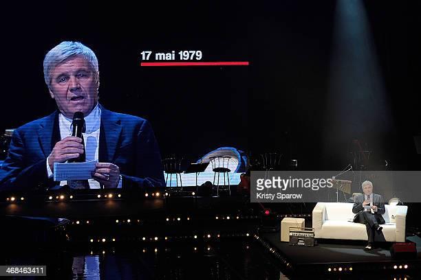 Bruno Masure speaks onstage during the La Nuit De La Deprime 2 at L'Olympia on February 10 2014 in Paris France