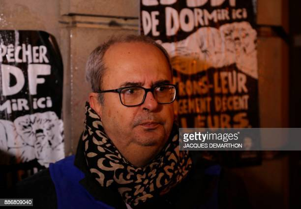 Bruno Morel general director of Emmaus solidarite foundation speaks to the press during an action in Paris on December 6 to highlight the use of...
