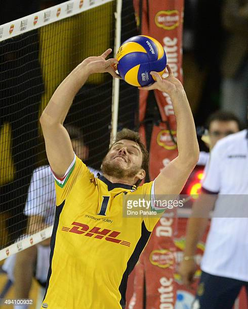 Bruno Mossa De Rezende of DHL Modena about to set during the Italian Volleyball Supercup at Palapannini on October 24 2015 in Modena Italy