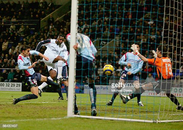 Bruno N'Gotty of Bolton scores during the UEFA Cup Group H match between Bolton Wanderers and Seville at the Reebok Stadium on December 14 2005 in...