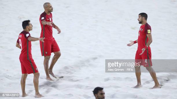 Bruno Novo Madjer and Torres of Portugal discuss during the FIFA Beach Soccer World Cup Bahamas 2017 group C match between United Arab Emirates UAE...