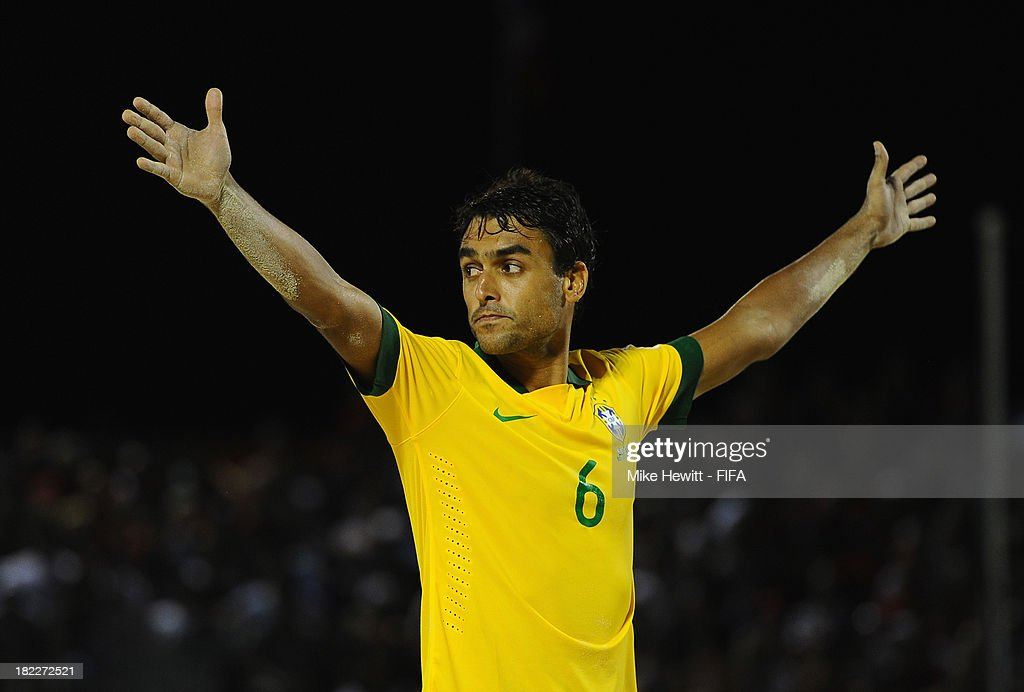 Bruno of Brazil celebrates after scoring during the FIFA Beach Soccer World Cup Tahiti 2013 3rd Place Playoff match between Brazil and Tahiti at the Tahua To'ata Stadium on September 28, 2013 in Papeete, French Polynesia.