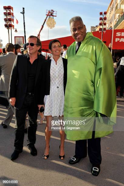 Bruno Pavlovsky Maureen Chuquet and Andre Leon Talley attend the Chanel Cruise Collection Presentation on May 11 2010 in SaintTropez France