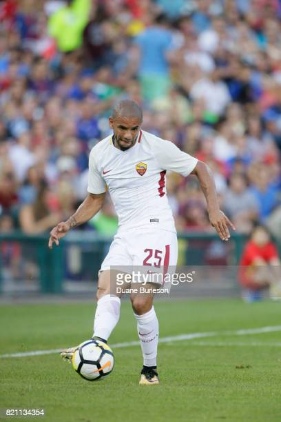 Bruno Peres of AS Roma advances the ball against Paris SaintGermain during the first half at Comerica Park on July 19 2017 in Detroit Michigan