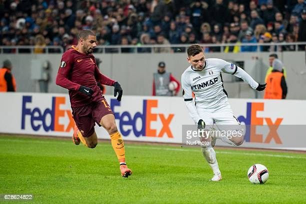 Bruno Peres of AS Roma and Alexandru Stan of FC Astra Giurgiu during the UEFA Europa League 20162017 Group E game between FC Astra Giurgiu and AS...