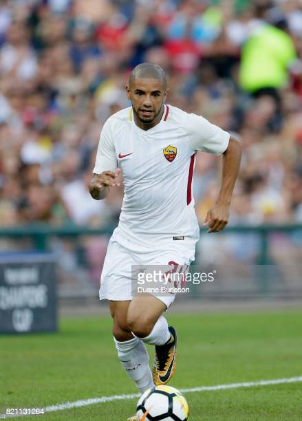 Bruno Peres of AS Roma brings the ball up the pitch against Paris SaintGermain during the first half at Comerica Park on July 19 2017 in Detroit...