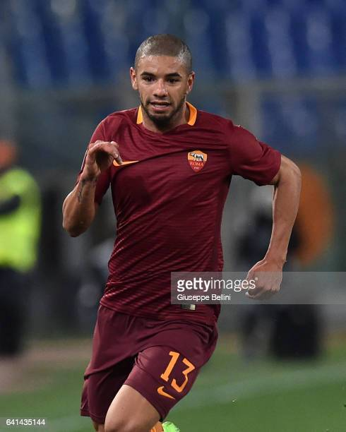 Bruno Peres of AS Roma in action during the Serie A match between AS Roma and ACF Fiorentina at Stadio Olimpico on February 7 2017 in Rome Italy