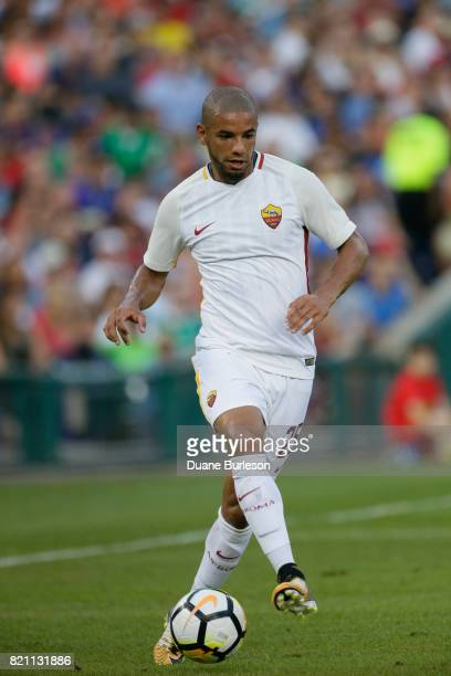 Bruno Peres of AS Roma moves the ball against Paris SaintGermain during the first half at Comerica Park on July 19 2017 in Detroit Michigan