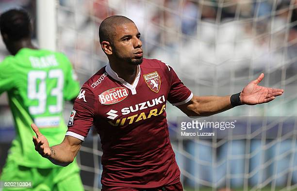 Bruno Peres of Torino FC celebrates after scoring the opening goal during the Serie A match between Torino FC and Atalanta BC at Stadio Olimpico di...