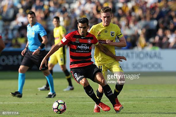 Bruno Pinatares of the Wanderers controls the ball ahead of the Mariners defence during the round nine ALeague match between Central Coast Mariners...