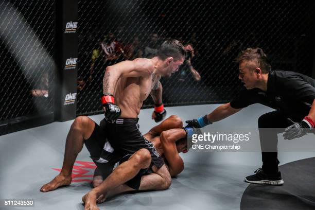 Bruno Pucci scores his firstever TKO win during ONE Championship Light Of A Nation at the Thuwunna Indoor Stadium on June 30 2017 in Yangon Myanmar