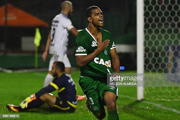Bruno Rangel of Brazil's Chapecoense celebrates his goal against Brazil's Cuiaba during their 2016 Copa Sudamericana football match at Arena Conda...