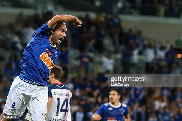 Bruno Rodrigo of Cruzeiro celebrates the first goal of his team during a quarter final match between Cruzeiro and San Lorenzo as part of Copa...