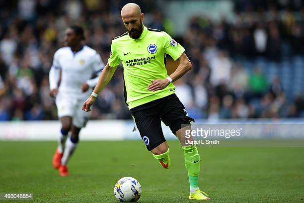 Bruno Saltor of Brighton Hove Albion FC controls the ball during the Sky Bet Championship match between Leeds United and Brighton Hove Albion at...