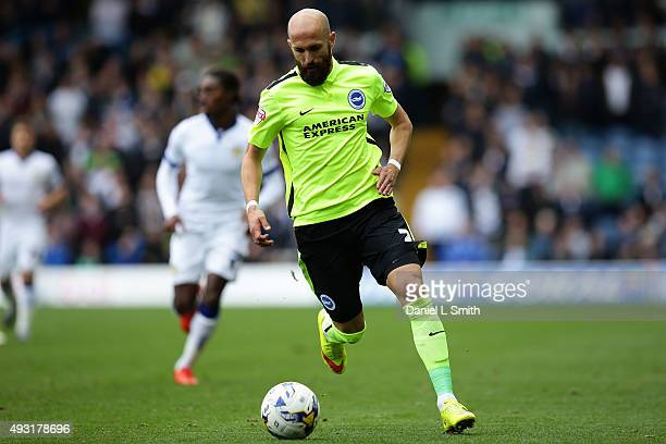 Bruno Saltor of Brighton Hove Albion FC in control during the Sky Bet Championship match between Leeds United and Brighton Hove Albion at Elland Road...