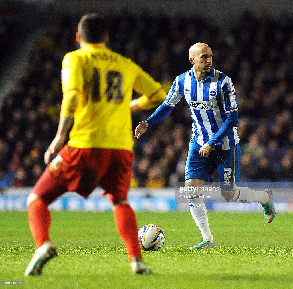 Bruno Saltor of Brighton & Hove Albion looks for a pass during the npower Championship match between Brighton & Hove Albion and Watford at The Amex Stadium on December 29, 2012 in Brighton England.