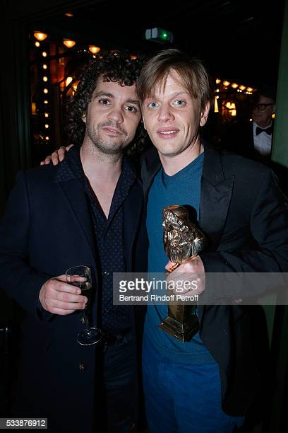 Bruno Sanches and Winner of 'Moliere de lhumour' for his Show Alex Lutz attend the dinner following 'La 28eme Nuit des Molieres' Held at La Closerie...