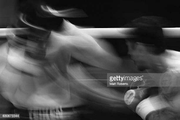 Bruno Sandoval punches Ryota Murata during the nontitle bout between Ryota Murata and Bruno Sandoval at the Ariake Colosseum on December 30 2016 in...