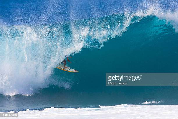 Bruno Santos of Brazil competes in the Rip Curl Pipe Masters on December 8 2004 at Pipeline of the North Shore of Oahu Hawaii
