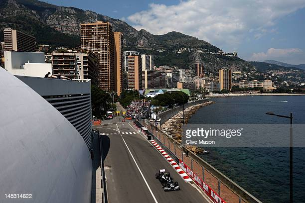 Bruno Senna of Brazil and Williams drives during qualifying for the Monaco Formula One Grand Prix at the Circuit de Monaco on May 26 2012 in Monte...