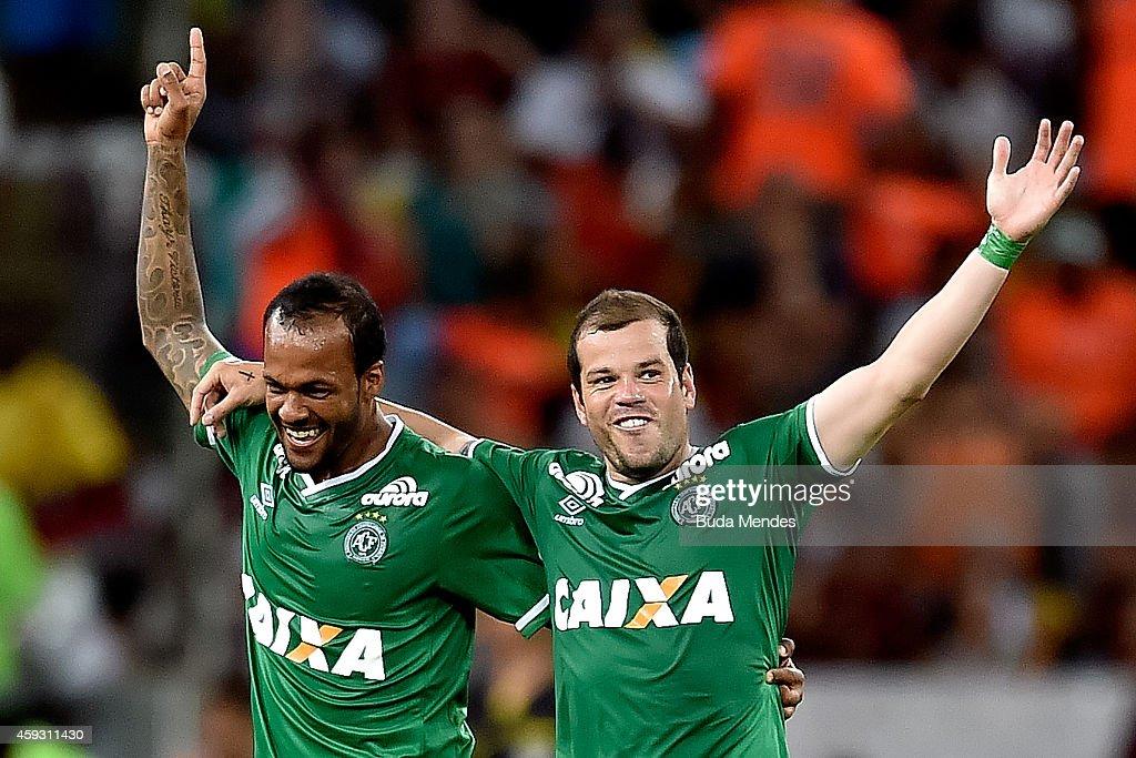 Bruno Silva and Tiago Luis of Chapecoense celebrate a scored goal during a match between Fluminense and Chapecoense as part of Brasileirao Series A...