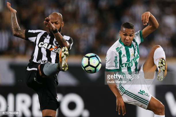Bruno Silva of Botafogo struggles for the ball with Deyverson of Palmeiras during a match between Botafogo and Palmeiras as part of Brasileirao...