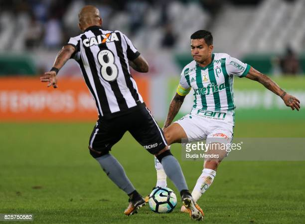 Bruno Silva of Botafogo struggles for the ball with Dudu of Palmeiras during a match between Botafogo and Palmeiras as part of Brasileirao Series A...