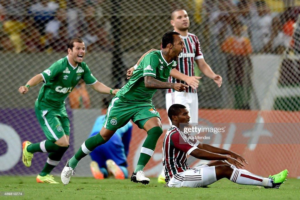 Bruno Silva of Chapecoense celebrates a scored goal during a match between Fluminense and Chapecoense as part of Brasileirao Series A 2014 at...