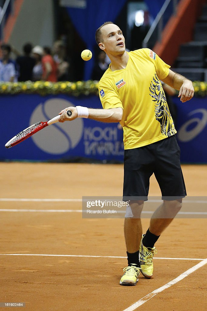 Bruno Soares from Brasil in action during the double final match against Frantisek Cermak from Czech Republic and Michal Mertinak from Slovakia, as part of the ATP Brazil Open on February 17, 2013, at Ibirapuera Gymnasium in Sao Paulo, Brazil.