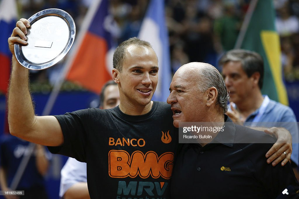 Bruno Soares from Brasil pose for a photo after winning the double final match against Frantisek Cermak from Czech Republic and Michal Mertinak from Slovakia, as part of the ATP Brazil Open on February 17, 2013, at Ibirapuera Gymnasium in Sao Paulo, Brazil.