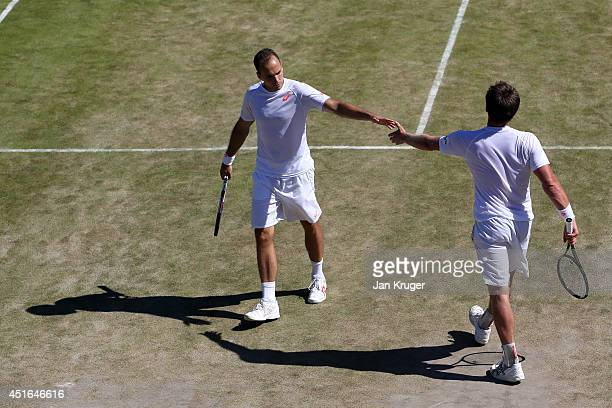 Bruno Soares of Brazil and Alexander Peya of Austria during their Gentlemen's Doubles QuarterFinal against Vasek Pospisil of Canada and Jack Sock of...