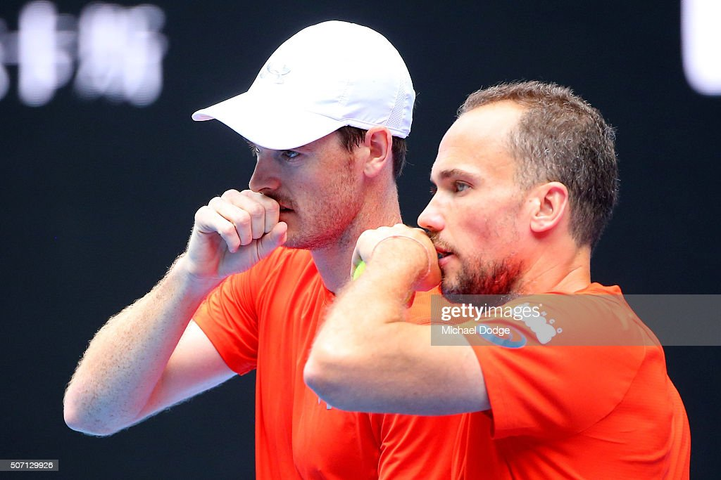 <a gi-track='captionPersonalityLinkClicked' href=/galleries/search?phrase=Bruno+Soares+-+Tennis+Player&family=editorial&specificpeople=11650044 ng-click='$event.stopPropagation()'>Bruno Soares</a> of Brazil and <a gi-track='captionPersonalityLinkClicked' href=/galleries/search?phrase=Jamie+Murray+-+Tennis+Player&family=editorial&specificpeople=4393751 ng-click='$event.stopPropagation()'>Jamie Murray</a> of Great Britain talk tactics in their doubles semi finals match against Adrian Mannarino and Lucas Pouille of France during day 11 of the 2016 Australian Open at Melbourne Park on January 28, 2016 in Melbourne, Australia.