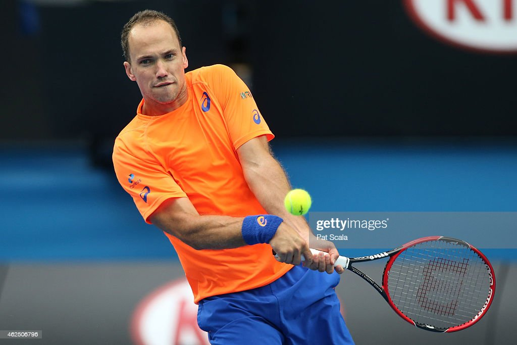 <a gi-track='captionPersonalityLinkClicked' href=/galleries/search?phrase=Bruno+Soares+-+Tennis+Player&family=editorial&specificpeople=11650044 ng-click='$event.stopPropagation()'>Bruno Soares</a> of Brazil plays a backhand in their semifinal mixed doubles match with Sania Mirza of India against Kristina Mladenovic of France and Daniel Nestor of Canada during day 12 of the 2015 Australian Open at Melbourne Park on January 30, 2015 in Melbourne, Australia.