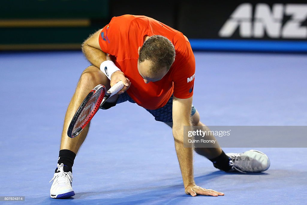 <a gi-track='captionPersonalityLinkClicked' href=/galleries/search?phrase=Bruno+Soares+-+Tennis+Player&family=editorial&specificpeople=11650044 ng-click='$event.stopPropagation()'>Bruno Soares</a> of Brazil reacts during the Men's Double Final match against Daniel Nestor of Canada and Radek Stepanek of Czech Republic during day 13 of the 2016 Australian Open at Melbourne Park on January 30, 2016 in Melbourne, Australia.