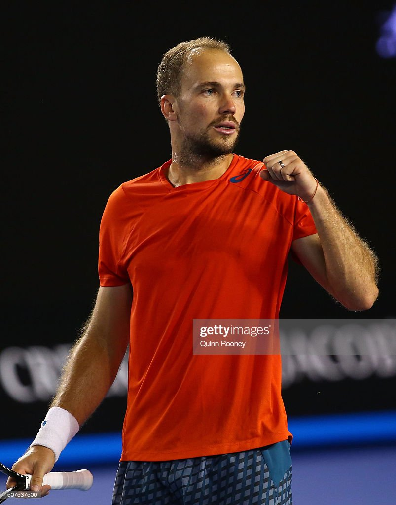<a gi-track='captionPersonalityLinkClicked' href=/galleries/search?phrase=Bruno+Soares+-+Tennis+Player&family=editorial&specificpeople=11650044 ng-click='$event.stopPropagation()'>Bruno Soares</a> of Brazil reacts in his Men's Doubles Final match with Jamie Murray of Great Britain against Daniel Nestor of Canada and Radek Stepanek of Czech Republic during day 13 of the 2016 Australian Open at Melbourne Park on January 30, 2016 in Melbourne, Australia.